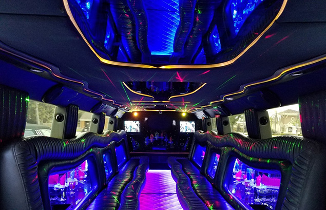 hummer h2 limo interior night